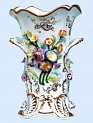 Daniel four footed vase, applied flowers